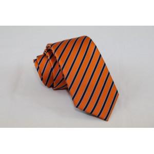 Ριγέ μεταξωτή γραβάτα πορτοκαλί με μπλε