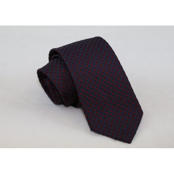 Silk blue necktie with bordo dots Neckties Γραβάτες - erika.gr