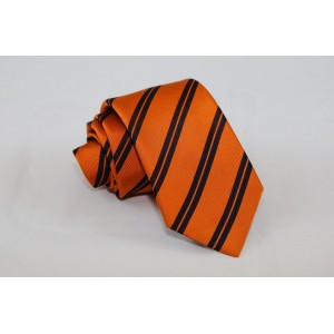 Ριγέ μεταξωτή γραβάτα πορτοκαλί