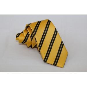 Μεταξωτή κίτρινη ριγέ γραβάτα double