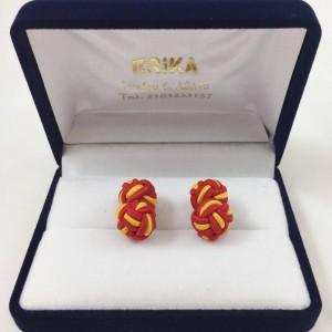 Μανικετόκουμπα knot κόκκινο με κίτρινο