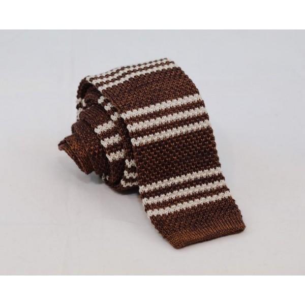 Knitted Necktie Brown with stripes Neckties Γραβάτες - erika.gr