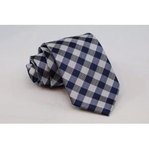 Μεταξωτή γραβάτα μπλε καρό